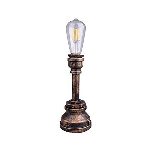 Industrielle Vintage Rost Eisen Wasserpfeife Schreibtisch Tischlampe Licht mit rotem Ventil Griff Schalter Dekorative Tischlampe (Color : A)