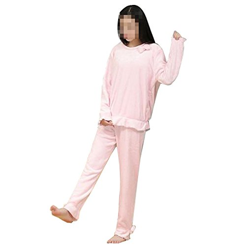 Belle Automne Chaud Et L'hiver Arc Version Coréenne Du Pyjama De Flanelle Simples Vêtements D'intérieur pink