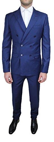 Abito cerimonia uomo sartoriale completo blu doppiopetto slim fit taglia da 46 a 60