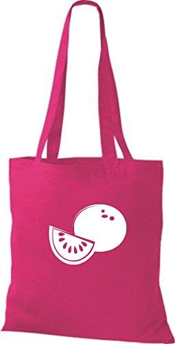 T-shirt In Tessuto Tinta Unita Borsa In Cotone La Tua Frutta E Verdura Preferita Miele Melone Color Fucsia Rosa
