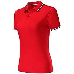 ZKOO Mujer Polos Camisas de Polo Algodón Manga Corta de la Solapa Poloshirts tee-Shirt Blusa Tops Slim Fit Rojo