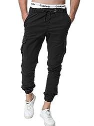 Zoerea Jogger Cargo Herren Chino Jeans Hose Elastische Taille Gürtel mit Taschen Verbesserte Schwarz,XL