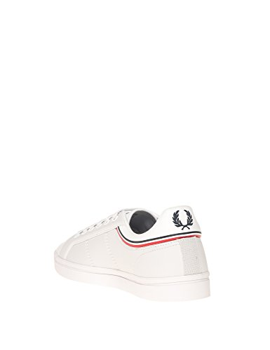 Fred Perry Men's Sidespin Leather Men's Blue Sneaker Textile Blanc