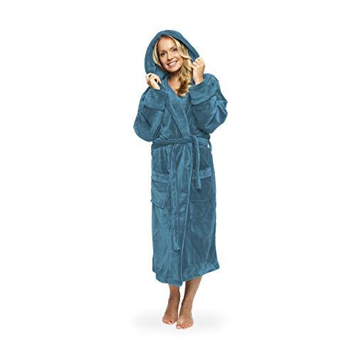 Lumaland Luxury Mikrofaser Bademantel mit Kapuze für Damen und Herren in verschiedenen Größen und Farben Hellblau Größe M
