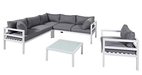 Wholesaler GmbH LC Garden Sitzgruppe Loungeecke 5-teilig Aluminium weiß