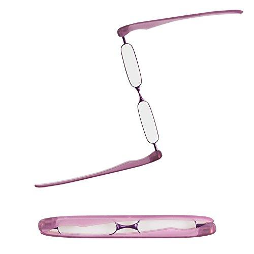 Podreader Lesebrille - Kompakt und Innovativ in 6 Farben - Bügel verwandeln sich in ein Brillenetui - Lesehilfe inkl. Mikrofasertuch - Stärken +1,0; +1,5; +2,0; +2,5; +3,0 (Lila, +1.0)