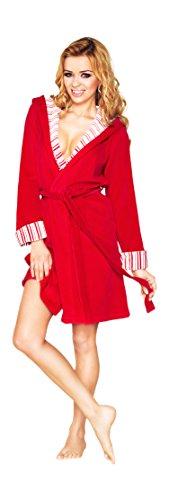 Vestaglia con Cappuccio Tasche e Cintura da Donna Rosso