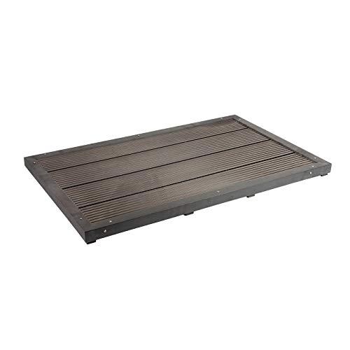 Bodenelement für Solardusche dunkelgraue Holzoptik rutschhemmend WPC Außendusche Pooldusche Garten -