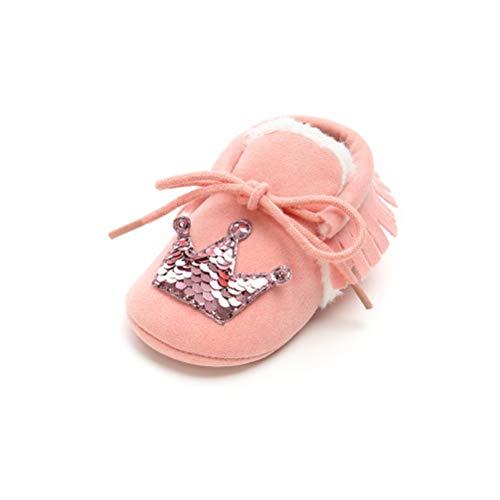 EDOTON Winter Fleece Schuhe Baby Mädchen Bowknot Bling Erste Wanderschuhe Rutschfeste Weiche Sohle Prinzessin Schuhe (0-6 Monate, Rosa-A) (Baby Bling Stirnband Rosa)