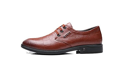 Hommes Gentleman Derby Chaussures Automne Hiver Non-slip Chaud Mariages Oxford Chaussures En Cuir Chaussures Ronds brown