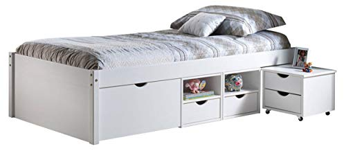 H24living Massivholzbett 90x200cm Seniorenbett extra hoch Jugendbett Funktionsbett Bett Holzbett Weiss massiv inkl. Lattenrost