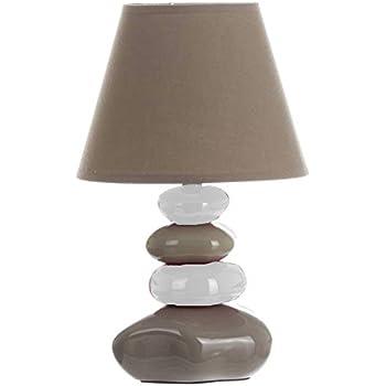 Lampe de table Galets Gris taupe et Beige - Chevet Abat jour Taupe