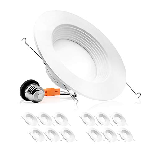 Parmida (12 Pack) 5/6 inch Dimmable LED Downlight, 12W (100W Replacement), Baffle Design, Retrofit LED Recessed Lighting Fixture, 3000K (Soft White), 1000lm, Energy Star & ETL, LED Trim