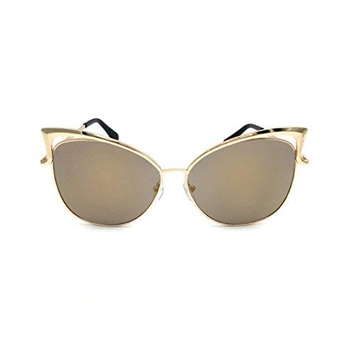 OverDose Katzenauge Metall Rand Rahmen Damen Frau Mode Sonnenbrille Verspiegelt Linse Damen Sunglasses Spiegel Sonnenbrille Cat Eye Brillenmode (A)