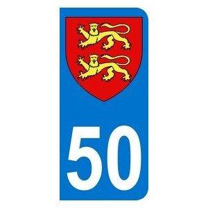 Sticker 50with Normandy Motorbike Registration Plate 6.3x 2.9cm