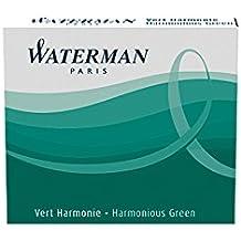 Waterman - Juego de cartuchos de tinta para pluma estilográfica (6 unidades, tamaño internacional, tinta indeleble verde)
