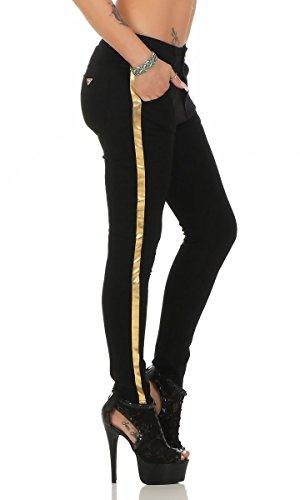 11352 Fashion4Young Damen Treggings Leggings Hose pants Stretch-Stoff Röhre schwarz Schwarz