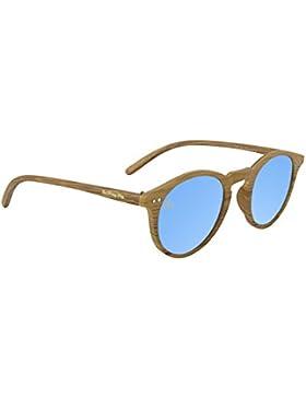 Gafas de sol Efecto Madera The Wrong Way. Lentes de espejo azul. Montura resistente a golpes y deformaciones....