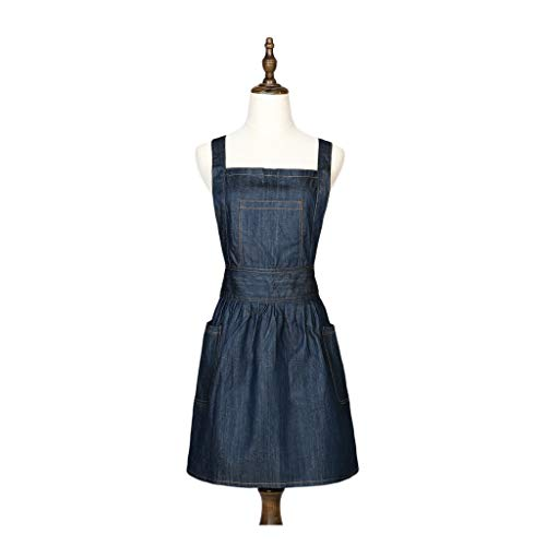 JHSHOP Japanischer Stil Denim Elegante viktorianische Pinafore Schürze Kostüm Ruffle Pockets (Größe : - Viktorianischen Starker Mann Kostüm