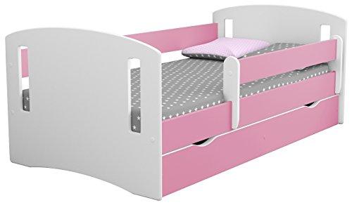 Weiß Kinder Bett Bettwäsche Kids Junior Kleinkind Bett mit Matratze und Aufbewahrung im lieferumfang enthalten–Classic 2 (Kinder-einzelbett-rahmen Für Mädchen)