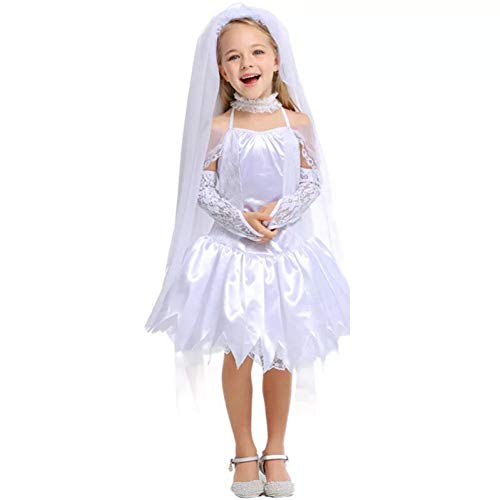 ZAOWEN Halloween Kostüm Mädchen Halloween Leiche Braut Zombie Cosplay Weiß Hochzeitskleid Cosplay Kostüm Kleine Dress Up Girl Kostüm 4-12 - Kind Corpse Bride Kostüm