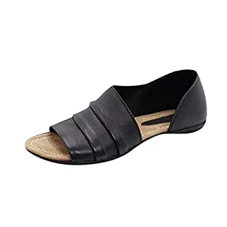 Flache Hausschuhe für Damen Damen, Mode Vintage Peep Toe Slip-On Ledersandalen, einfarbig Plus Größe Rutschfeste Hausschuhe Sliders D'orsay Casual Schuhe