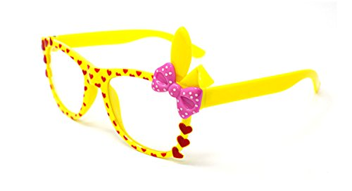 22a1fa483 Ultra ® Yellow with Pink Bow Cute 3D Multi Color clear lens Bunny Heart Bow  Frames