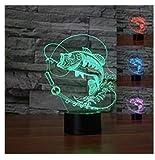 3D Fisch Optische Illusions-Lampen, Tolle 7 Farbwechsel Acryl berühren Tabelle Schreibtisch-Nachtlicht mit USB-Kabel für Kinder Schlafzimmer Geburtstagsgeschenke Geschenk