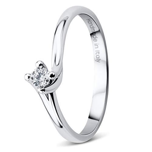 Orovi - anello da donna in oro bianco 18 carati (750) e diamante 0,08 ct, solitario e oro bianco, 54 (17.2), cod. or9104r54