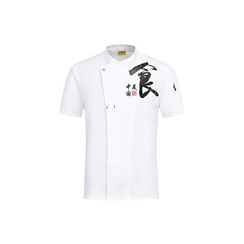 2019 Neue Kurzarm Koch Uniform Restaurant Kellner Kleidung Sommer Arbeitskleidung Overalls Backen Kleidung Catering Hotel Kleidung,White,L -