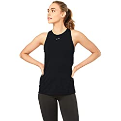 Nike W NP Tank All Over Mesh Top, Mujer, Black/(White), XL