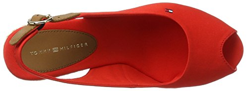 Tommy Hilfiger E1285lba 39d, Sandales Bout Ouvert Femme Rouge (Fiery Red 617)