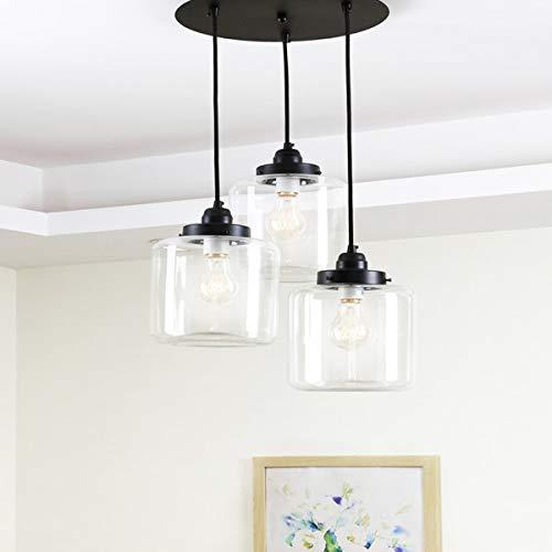 Moderner Edison-Kronleuchter aus Glas, verstellbare Aufhängehöhe, antike Fassung aus gebürstetem Messing, moderne Küchenlampe im Retro-Landhausstil, Kronleuchter Einfach drinnen