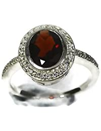 Fashion Women Jewelry 925 Sterling Silver Ruby & CZ Ring Size 7 CCI