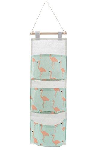 QILICZ Aufbewahrungstasche Ordnungssystem Organizer zum Aufhängen mit 3 Taschen Kinderzimmer Wohnzimmer Flamingos ängeaufbewahrung Wand Aufbewahrungstasche Hängnde Tasche (B)