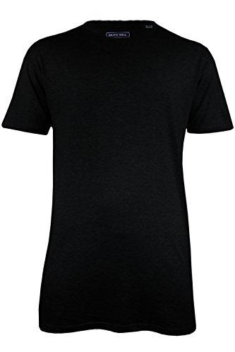 Herren Baumwolle kurze Ärmel Lang T Shirt Longline Loose Fit Top (HARREL) Schwarz - Schwarz