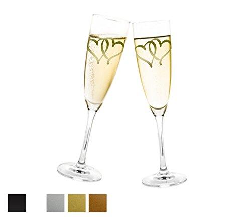 Aufkleber Hochzeit - Herzen für Sektglas Farbe Kupfer, Größe 20 Stk