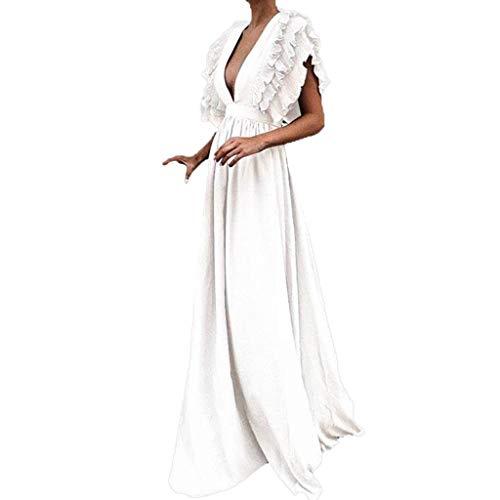 iHENGH Damen Frühling Sommer Rock Bequem Lässig Mode Kleider Frauen Röcke Plus größe solide Vintage Fly Sleeve zurück hohlen v-Ausschnitt Lange Party Dress(Weiß, XL) Bow Print Silk Dress