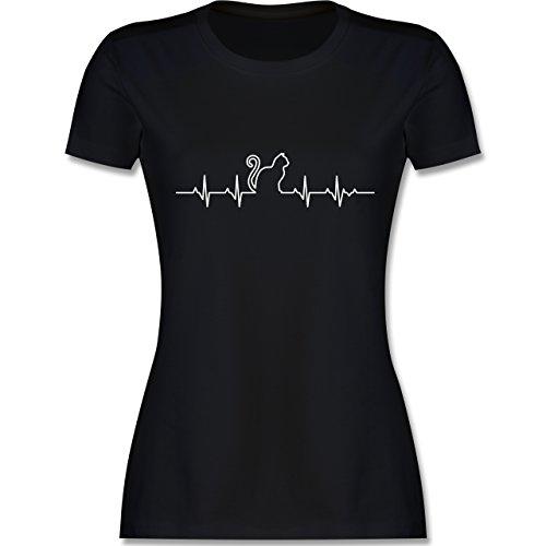 Katzen - Herzschlag Katze - S - Schwarz - L191 - Damen T-Shirt Rundhals