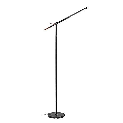 HOUSEYAS Dimmbare LED Stehlampe Arbeitsbeleuchtung 8W Naturweiße Stehleuchte aus Metall Schwenkbar Schwannenhals Helligkeiten Stufenlos Dimmbar für Arbeitszimmer Büro Office Wohnzimmer Schwarz