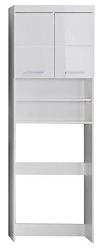*trendteam smart living Badezimmer Waschmaschinenschrank Waschmaschinenüberbau Amanda, 63 x 1 87 x 24 cm in Weiß Hochglanz mit viel Stauraum*