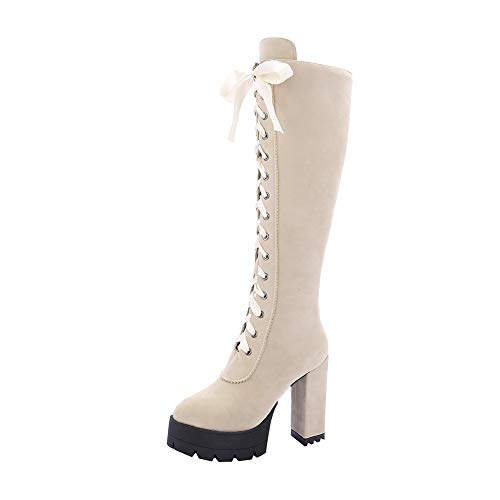 Y2Y Studio Femmes Bottes sous Genoux avec Lacets Ruban Fashion à Talons Bloc Hautes 12cm avec Bout Rond Plateforme Boots Shoes Winter