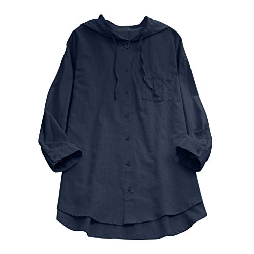 Linen Große Größe T-Shirt mit Kapuze für Damen/Dorical Mode Frauen Lange Ärmel V-Ausschnitt Knopf Tops Casual Sommer Lose Lang Oberteile Elegant Solid Blouse Shirt S-3XL Ausverkauf(Marine,XX-Large)