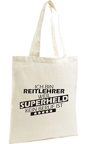 Shirtstown Shopping Bag Organic Zen, Shopper Ich bin Reitlehrer, weil Superheld kein Beruf ist, natur