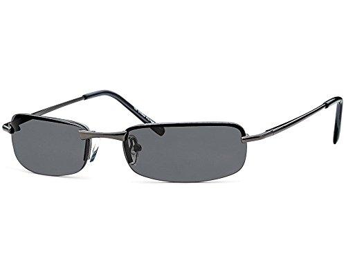 Sonnenbrille rechteckig Herren Gangster Cool Trend Sonnen Brille graue Gläser Federscharnier -06 (Anthrazitgestell)