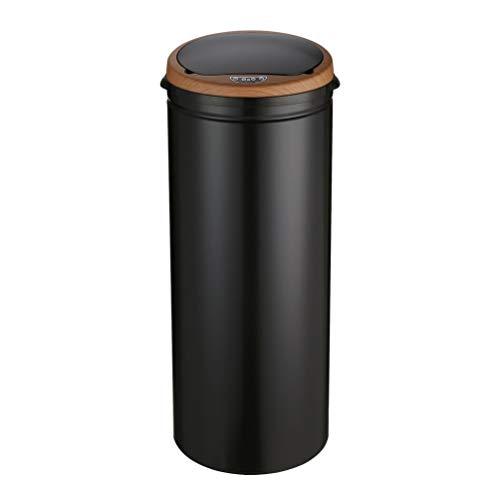 Poubelle automatique avec capteur 50 l - En acier inoxydable - grain bois noir