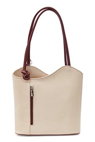 LiaTalia Damen großartige weiche italienische Leder Piping Detail Schulter oder Rucksack Tasche mit Schutztasche - Libby z** (Nicht Piping) - Creme - Brauner Besatz -