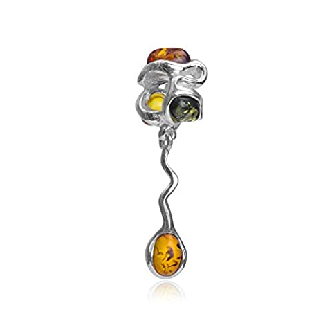 Ambre multicolore Argent sterling Charm pendentif