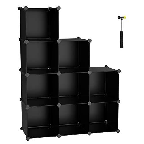 SONGMICS ULPC33B Aufbewahrungsbox, 9 Würfeln, DIY Kunststoff Schrank, modulares Bücherregal, Lagerregal für Schlafzimmer, Wohnzimmer, Büro, 91,4 x 30,5 x 12,2 cm, Schwarz