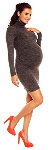 Zeta Ville Maternité - Robe en maille de grossesse avec col roulé - femme 888c Graphite
